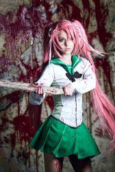 1girl blood cosplay glasses highschool_of_the_dead long_hair looking_at_viewer photo pink_hair school_uniform skirt solo standing takagi_saya