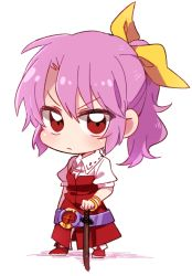 1girl belt bow chibi hair_bow katana pink_hair ponytail raised_eyebrow red_eyes six_(fnrptal1010) solo sword touhou watatsuki_no_yorihime weapon