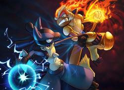 battle blue_eyes fang fire furry infernape lucario monkey nintendo no_humans open_mouth pokemon pokemon_(game) pokemon_dppt red_eyes teeth