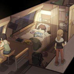 3girls backpack bag bare_shoulders bed black_hair blanket brown_hair camera camisole can cup earphones eyes_closed itou_(mogura) lamp long_hair monitor multiple_girls original shoes short_hair shorts sink sitting sleeping slippers sneakers tablet_pc window