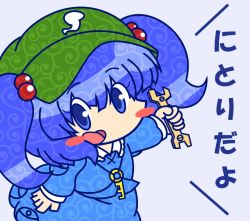 1girl backpack bag blue_eyes blue_hair chibi hair_bobbles hair_ornament hat kawashiro_nitori key open_mouth parody short_hair smile solo style_parody style_request touhou twintails wrench ziogon