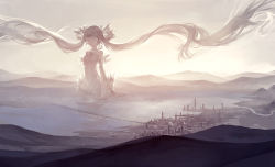 1girl absurdly_long_hair bare_shoulders bridge city cityscape detached_collar eyes_closed giantess hatsune_miku hill horizon kklaji008 landscape long_hair partially_submerged river scenery sky solo sunlight sunset twintails very_long_hair vocaloid water