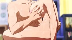 animated animated_gif arched_back areolae belly blush bouncing_breasts breast_grab breasts brown_eyes brown_hair censored character_request cowgirl_position earrings erect_nipples girl_on_top huge_breasts kiss large_breasts navel nipples nude open_mouth plump sex short_hair tennen_koi-iro_alcohol
