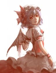 1girl bat_wings bow frilled_sleeves frills from_behind hat hat_bow highres looking_at_viewer looking_back mob_cap puffy_short_sleeves puffy_sleeves purple_hair red_bow red_eyes remilia_scarlet sarie_(zyy842434511) short_hair short_sleeves simple_background sketch solo touhou white_background wings wrist_cuffs