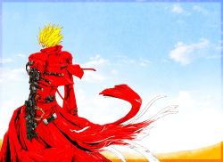 1boy back blonde_hair bullet coat desert earrings high_collar highres jewelry ledjoker07 long_coat male mechanical_arm prosthesis prosthetic_arm red_coat short_hair sky solo spiked_hair sunglasses torn_clothes trigun vash_the_stampede wind