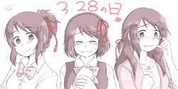 3girls artist_request blush braid commentary_request crying dated french_braid hair_ribbon jewelry kimi_no_na_wa limited_palette long_hair looking_at_viewer miyamizu_mitsuha multiple_girls multiple_persona necklace older open_mouth red_ribbon ribbon school_uniform short_hair smile star_necklace sweater_vest