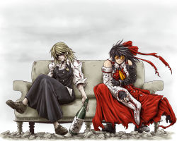 2girls blonde_hair blood cosplay couch detached_sleeves fingerless_gloves glasses gloves hakurei_reimu highres kirisame_marisa ledjoker07 legs_crossed multiple_girls nicholas_d_wolfwood parody sitting spoilers sunglasses touhou trench_coat trigun trigun_maximum vash_the_stampede vash_the_stampede_(cosplay)