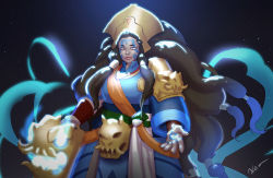 1girl alternate_costume alternate_hairstyle brown_hair chalii crown dark_skin facial_mark illaoi league_of_legends long_hair solo star_(sky) tattoo tentacle yellow_eyes