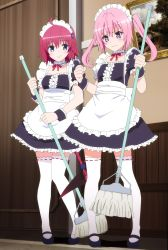 2girls blush kurosaki_mea maid maid_headdress multiple_girls nana_asta_deviluke pink_hair purple_eyes ribbon screencap siblings sisters stitched tail tail_grab thighhighs to_love-ru to_love-ru_darkness to_love-ru_darkness_2nd twins wrist_cuffs zettai_ryouiki