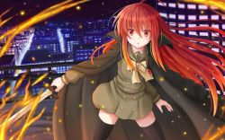 1girl :o bangs black_legwear bow bowtie building buttons cape chains cityscape cowboy_shot embers fire flaming_sword floating_hair glowing hair_between_eyes high_collar highres holding holding_weapon jewelry kazenokaze legs_apart lights long_hair long_sleeves looking_at_viewer necklace night night_sky open_mouth outdoors outstretched_arm payot pendant railing red_eyes red_hair rooftop school_uniform serafuku shakugan_no_shana shakugan_no_shana_ii shana sky skyscraper small_breasts solo sword thighhighs wallpaper weapon widescreen
