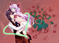 1boy 1girl al_azif bow daijuuji_kurou demonbane hair_bow hair_ribbon heart kabane_(follabi) long_hair purple_hair ribbon thighhighs