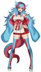 1girl :d bare_shoulders black_eyes blue_hair breasts detached_sleeves fang full_body hands_on_hips highres hip_vent horns katagiri_hachigou looking_at_viewer multicolored_hair open_mouth personification pokemon red_hair salamence simple_background skirt smile solo standing thighhighs two-tone_hair white_background zettai_ryouiki
