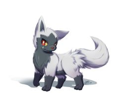 artist_name dated ivan_(ffxazq) no_humans pokemon poochyena red_eyes simple_background solo white_background
