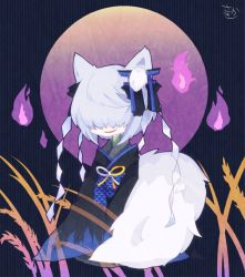 1girl akitsu_nezu animal_ears black_bow blue_kimono book_of_star_mythology bow cosmicmind fox_ears fox_tail grey_hair hair_ornament hair_over_eyes hitodama japanese_clothes kimono kitsune layered_clothing layered_kimono long_sleeves original purple_background seiza short_hair simple_background sitting sleeves_past_wrists smile solo tail touhou wheat wide_sleeves