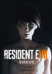 1girl bangs bare_shoulders black_hair breasts camisole cleavage closed_mouth copyright_name dark english facing_viewer highres ilya_kuvshinov light lips looking_at_viewer medium_breasts resident_evil resident_evil_7 short_hair silver_eyes solo upper_body zoe_baker