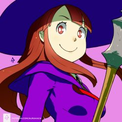 1girl akko_kagari bangs breasts brown_eyes brown_hair erica_june_lahaie hat highres little_witch_academia medium_breasts necktie pink_background sidelocks signature smile solo upper_body watermark web_address witch_hat