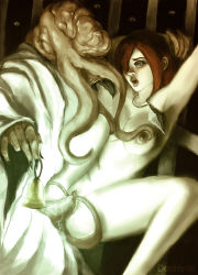 1girl areolae bars bell breasts cage dark_souls doc_hyde_(artist) female hetero male medium_breasts mindflayer nipples nude open_mouth penetration penis pussy pussy_juice red_hair spread_legs tentacle tentacle_sex vaginal_penetration