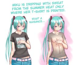 1girl aqua_hair areolae belt black_shirt blush breasts censored dual_persona hair_ornament hard_translated hatsune_miku long_hair nipples purple_eyes see-through shirt small_breasts sweat translated truth vocaloid wokada
