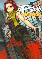 1girl amanda_valenciano_libre bad_id blood breasts character_name cigarette cleavage cov-r grey_eyes gun handgun metal_gear_(series) metal_gear_solid_peace_walker pistol red_hair scarf short_hair smoke smoking_gun solo tank_top weapon