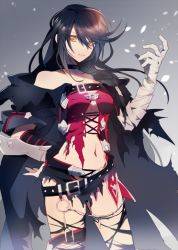 1girl bandage belt black_hair breasts choker claws cleavage collarbone eyelashes gradient gradient_background lace large_breasts lips long_hair looking_at_viewer navel solo tales_of_(series) tales_of_berseria torn_clothes underboob velvet_crowe yellow_eyes