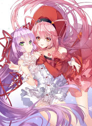 2girls al_azif another_blood demonbane detached_sleeves dress floating_hair frilled_dress frilled_sleeves frills green_eyes hair_between_eyes hair_ribbon hands_on_another's_shoulder hat highres index_finger_raised long_hair looking_at_viewer multiple_girls open_mouth orange_eyes pink_hair purple_hair red_dress red_hat red_ribbon ribbon short_dress sleeveless sleeveless_dress star tongue tongue_out very_long_hair wataru_kuri white_dress wrist_cuffs