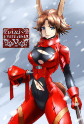 1girl animal_ears armor bleeding blood blood_on_face blue_eyes borrowed_character breasts brown_hair bunny_ears bunny_tail cleavage headgear_removed iwaya large_breasts lips navel pappel_ostern pixiv_fantasia pixiv_fantasia_5 short_hair snow solo sword tail torn_clothes weapon wind