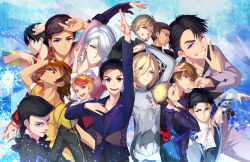 6+boys arm_up beard black_hair blonde_hair blue_eyes bodysuit brown_eyes brown_hair christophe_giacometti cravat emil_nekola eyeshadow facial_hair gari_(apollonica) georgi_popovich gloves green_eyes grey_eyes grin highres it's_j.j._style! jean-jacques_leroy ji_guang-hong katsuki_yuuri lee_seung-gil leo_de_la_iglesia makeup male_focus michele_crispino minami_kenjirou multicolored_hair multiple_boys one_eye_closed open_mouth orange_gloves otabek_altin phichit_chulanont red_hair silver_hair smile sparkle two-tone_hair viktor_nikiforov yuri!!!_on_ice yuri_plisetsky