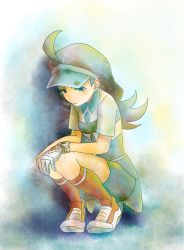 1girl alternate_eye_color aqua_hair blue_eyes blue_hat blue_skirt buttons closed_mouth diamond_(shape) elite_four full_body gloves hat highres kahili_(pokemon) kneehighs long_hair mole mole_under_eye orange_legwear pencil_skirt pin pokemon pokemon_(game) pokemon_sm shoes short_sleeves single_glove skirt solo squatting visor_cap white_gloves white_shoes yukari_(pixiv4887351) z-ring