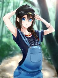 1girl adjusting_clothes adjusting_hat alternate_costume aoi_rin_(miya1102) blue_eyes blurry braid brown_hair depth_of_field hair_over_shoulder hat highres kantai_collection long_hair overalls peaked_cap shigure_(kantai_collection) single_braid solo tree