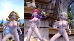 3d 3girls archer_(dragon_nest) breasts dragon_nest elf female lancea_(dragon_nest) large_breasts long_hair multiple_girls nipples nude pointy_ears pussy sorceress_(dragon_nest) uncensored