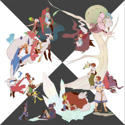 5boys 6+girls ai2 ai_(pokemon) alicia_(pokemon) alternate_form arceus arlon_(pokemon) artist_request bad_id barefoot bike_shorts black_hair blonde_hair blue_eyes brown_eyes brown_hair cape celebi chocolate damos_(pokemon) darkrai deoxys dress entei everyone eye_contact eyes_closed film_strip fleura_(pokemon) flower giratina glasses green_eyes green_hair hand_holding haruka_(pokemon) hat head_wreath highres holding hug jirachi kanon_(pokemon) latios leaf long_hair long_image looking_at_another lucario lugia manaphy masato_(pokemon) mewtwo mii_snowdon minun multiple_boys multiple_girls ookido_yukinari pichu plusle pokemon pokemon_(anime) sandals shaymin short_hair silver_eyes silver_hair simple_background sitting sketchbook standing tears tooi_rondot veil wide_image younger zoroark zorua