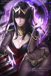 1girl black_hair bodysuit bracelet breasts bridal_gauntlets circlet cleavage fire_emblem fire_emblem:_kakusei jewelry long_hair magic realistic sakimichan solo tharja two_side_up watermark web_address