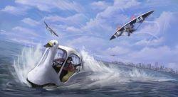 2boys blue_sky boat chasing city cloud glider goggles goggles_on_head gun handgun multiple_boys ocean original sky speed_lines watercraft weapon yukimakota