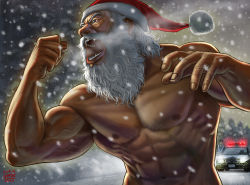 2014 2boys beard biceps breath bust christmas dated facial_hair foreshortening hat manly matataku multiple_boys muscle old_man open_mouth original pectorals police police_car santa_claus santa_hat shirtless signature snowing solo_focus topless veins white_hair