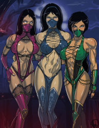 3girls abs black_hair blank_eyes blue_eyes bracer chains cleavage dark_skin elbow_gloves fingerless_gloves fishnets ganassa halterneck headband jade kitana loincloth long_hair mask midriff mileena mortal_kombat multiple_girls muscle nail_polish navel ninja ponytail shiny_skin signature sweat thigh_boots thighs toned white_eyes