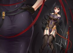 2girls :o arm_grab arms_behind_back ass bangs bare_shoulders beads black_gloves black_hair black_legwear black_leotard black_skin blade blush bow bow_legwear breasts cameltoe covered_collarbone covered_navel elbow_gloves erect_nipples flower from_behind garter_belt garter_straps gloves gluteal_fold grabbing groin hair_between_eyes highleg highleg_leotard horns impossible_clothes impossible_leotard jewelry katana leg_grab legs_together leotard logo long_hair looking_at_viewer medium_breasts midnight_(banyex) multiple_girls neck_ring open_mouth original pelvic_curtain pendant planted_sword planted_weapon red_eyes restrained ribbon sash see-through shiny shiny_clothes size_difference skin_tight solo standing surprised sword tail tail_grab tassel tattoo tentacle thigh_gap thighhighs transparent turtleneck watermark weapon