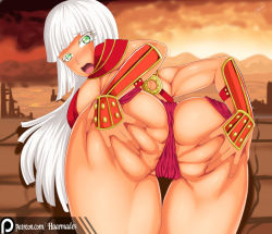 1girl armor ass ass_grab bent_over blush bracers breasts dark_skin deep_skin from_behind green_eyes haarmades huge_ass huge_breasts leaning leaning_forward long_hair looking_at_viewer open_mouth original panties patreon shiny shiny_hair shiny_skin solo thong very_long_hair white_hair