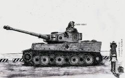 10s 2girls fusou_(fuso0205) gift greyscale ground_vehicle highres i-8_(kantai_collection) kantai_collection kongou_(kantai_collection) military military_vehicle monochrome motor_vehicle multiple_girls tank tiger_i