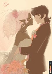 1boy 1girl bare_shoulders beads black_hair blush bouquet breasts bridal_veil brown_eyes circlet cleavage closed_mouth color_guide couple dark_skin dress drill_hair elbow_gloves eye_contact face-to-face facial_mark flower formal from_side gloves hair_beads hair_flower hair_ornament hetero highres hug hyakujuu-ou_golion incipient_kiss interracial interspecies keith_(voltron) long_hair long_sleeves looking_at_another medium_breasts neck necklace necktie necktie_pull orange_eyes orange_necktie pink_rose pointy_ears ponytail princess_allura pulling rose sasha_gladysh short_hair smile standing strapless strapless_dress suit tuxedo veil voltron:_legendary_defender wedding wedding_dress white_dress white_gloves white_hair