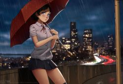 1girl artist_name black_hair black_legwear black_skirt blue_eyes blurry blush bridge buttons city closed_mouth cloud cloudy_sky collared_shirt cowboy_shot depth_of_field holding holding_umbrella horizon looking_at_viewer mleth motion_blur night original outdoors over-kneehighs pink_lips pleated_skirt rain red_ribbon red_umbrella ribbon serious shirt short_hair short_sleeves skirt sky solo thighhighs umbrella water water_drop watermark web_address white_shirt wing_collar