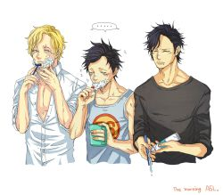 3boys male_focus monkey_d_luffy multiple_boys one_piece portgas_d_ace sabo_(one_piece) saliva shaving toothbrush toothpaste