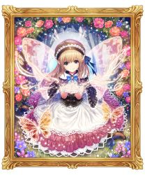 1girl blonde_hair blue_ribbon butterfly capelet day dress fairy fairy_wings flower flower_request frame fur-trimmed_capelet glowing grass hair_between_eyes hat layered_dress light_particles light_trail long_hair looking_at_viewer mimero_(mi_meronpan) open_hands original outdoors pointy_ears purple_eyes ribbon signature sitting smile solo tree underbust wariza wings
