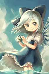 1girl adapted_costume alternate_costume blue_eyes blue_hair bow cirno cloud fairy frills frog frozen hair_bow hair_ornament ice ice_wings looking_at_viewer partially_submerged puffy_sleeves shirt short_hair short_sleeves silence_girl skirt sky smile solo touhou water wings