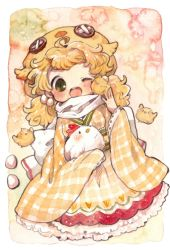 1girl animal animal_hat bird blonde_hair blush bow chick chicken egg frills gingham_dress green_eyes happy_new_year hat holding holding_animal japanese_clothes mokarooru new_year no_legs one_eye_closed open_mouth original rooster solo white_bow year_of_the_rooster
