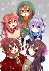 5girls :d black_jacket blue_eyes blue_scarf brown_coat brown_eyes brown_hair brown_scarf brown_shoes coat crescent crescent_hair_ornament crescent_moon_pin earmuffs fang glasses gradient gradient_background grey_background hair_ornament jacket kantai_collection kisaragi_(kantai_collection) long_hair long_sleeves mittens mochizuki_(kantai_collection) multiple_girls mutsuki_(kantai_collection) nagasioo open_mouth pantyhose pink_hair plaid plaid_scarf purple_hair red-framed_eyewear red_eyes red_scarf scarf shoes short_hair short_hair_with_long_locks smile snowflakes snowing uzuki_(kantai_collection) winter_clothes yayoi_(kantai_collection)