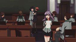 animated animated_gif black_hair hair_ribbon multiple_boys multiple_girls owari_no_seraph purple_hair school_uniform