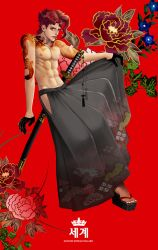 1boy abs character_name crown earrings flower gloves half_gloves jewelry jojo_no_kimyou_na_bouken kakyouin_noriaki katana male_focus muscle pleated_skirt red_eyes red_hair sandals sheath sheathed shirtless skirt solo sword tattoo weapon world_(alpaca135)