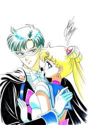 1boy 1girl bishoujo_senshi_sailor_moon blonde_hair blue_eyes blue_hair bow bowtie cape chiba_mamoru couple crescent crescent_earrings double_bun earrings gloves hair_ornament hairpin hug jewelry long_hair looking_at_viewer marco_albiero marker_(medium) mask pink_bow sailor_collar sailor_moon signature smile tiara traditional_media tsukino_usagi tuxedo_kamen twintails upper_body white_background white_bow white_gloves