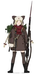 1girl animal_hat bag black_boots blonde_hair blue_eyes boots bow braid breath brown_legwear buttons coat coh full_body fur_trim gun hair_bow hat long_hair long_sleeves mars_expedition military military_uniform open_mouth red_bow red_scarf rifle scarf simple_background sleeves_past_wrists solo soviet standing star thighhighs twin_braids uniform very_long_hair weapon weapon_request white_background zettai_ryouiki