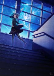 1girl arm_up baton_(instrument) black_hair blazer conductor dutch_angle eyes_closed indoors jacket nebula night night_sky original outstretched_arms pantyhose plaid plaid_skirt railing scenery school_uniform shadow short_hair signature skirt sky solo stairs stairwell standing standing_on_one_leg star_(sky) starry_sky technoheart window